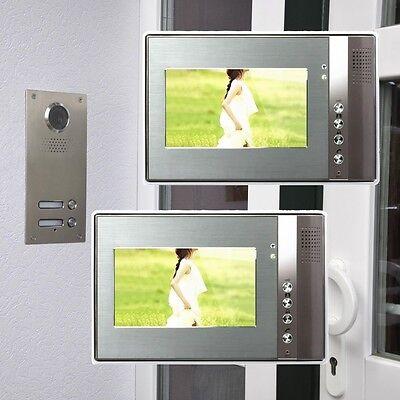 """Zweifamilienhaus Farb Video Türsprechanlage 7"""" Monitor LED Nachtsicht Cam 110°"""