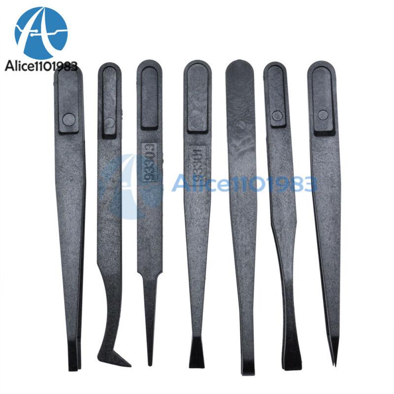 7pcs Anti-static Tweezer Tool Straight Bend Plastic Heat Resistant