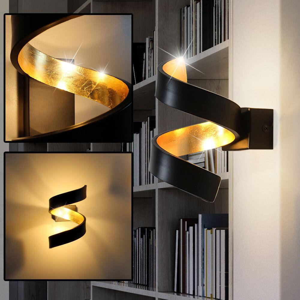 LED Spiral Wand Leuchte schwarz Arbeits Zimmer Beleuchtung Lampe gold Strahler