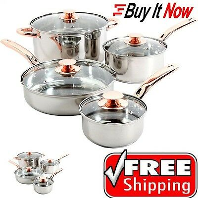 Stainless Steel 8 Piece Cookware Set Non Stick Cooking Pots and Pans Kitchen
