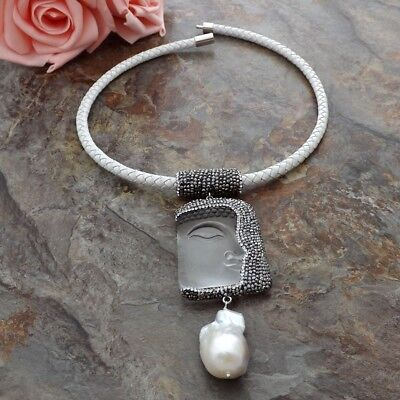 Clear Crystal Buddha Pendant  White Leather Necklace  Keshi Pearl Pearl Pendant Leather Necklace