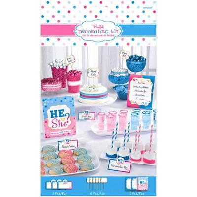GENDER REVEAL BUFFET TABLE PICKS Party Decoration Table Food Label Boy Girl Baby ()