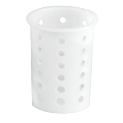 "Vollrath Flatware Cylinder Round Perforated White Plastic - 3 3/4""Dia x 5 5/8""H"