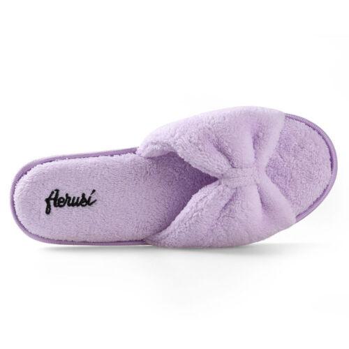 Purple Women/'s Open Toe Bowknot Plush Spa Slipper Indoor Bedroom Floor Shoes