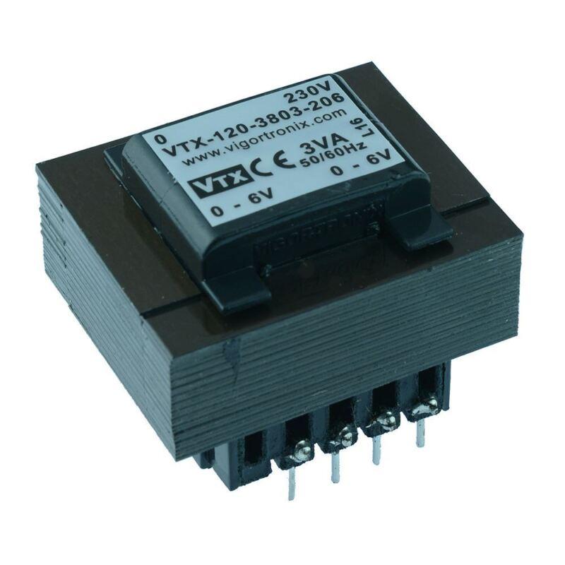 VTX-120-3803-206 PCB Transformer 230V 3VA 6V+6V Vigortronix