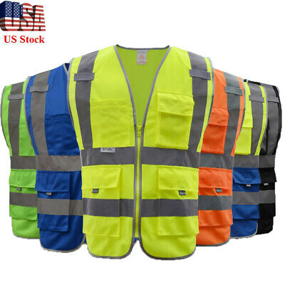 High Visibility Reflective Safety Vest With Pockets Strips Zipper Work Clothes