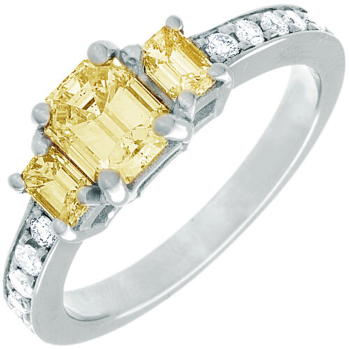 Fancy Yellow GIA Certified 2.31 CT Emerald Cut Diamond Engagement Ring 18k Gold