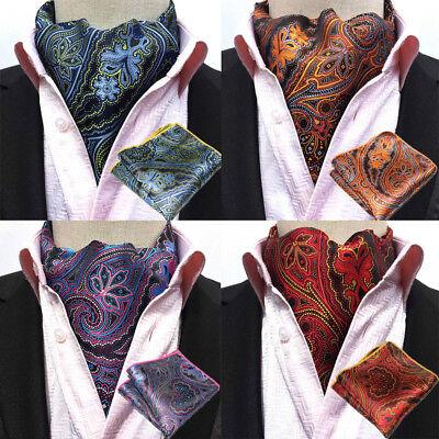 Ascot Tie - USA Shipping Men's Paisley Flower Cravat Ascot Necktie Pocket Square Set