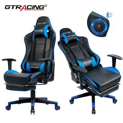 Ergonomic Music Gaming Chair With Soft Headrest Lumbar Cushion Footrest