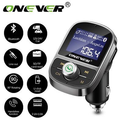ONEVER Bluetooth Car FM Transmitter Wireless 3.1A USB Charger MP3 Player AUX-out