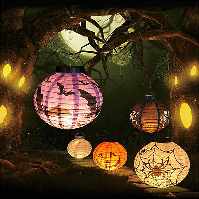 LED Paper Pumpkin Latern Spider Hanging Light Lamp Halloween Party Decoration