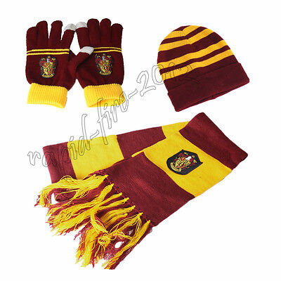 3pcs Harry Potter Gryffindor House Knit Scarf + Gloves+ Hat Costume Xmas Gift