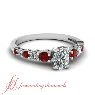 1 Carat GIA Unusual Colorful Cushion Diamond Engagement Rings With Round Ruby