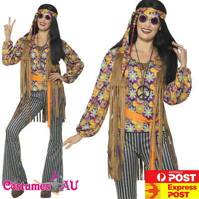 Womens 60s Singer Hippy Hippie Costume 70s Vintage Artist Groovy Retro Outfits