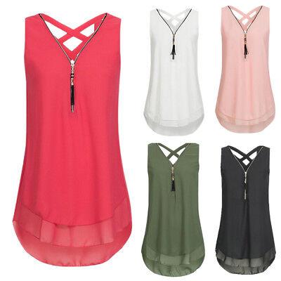 Fashion Women Summer Vest Top Sleeveless Chiffon Blouse Zipper Tank Tops T Shirt