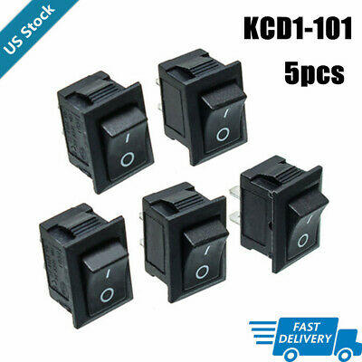 5pcs Push Button Switch 6a 250v Ac Kcd1-101 2 Pin Snap-in Onoff Rocker Switch