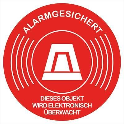 """10 Stück Aufkleber """"Alarmgesichert-Objekt wird elektronisch überwacht"""" Rund 5 cm"""