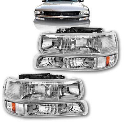 Clear For 99-02 Silverado 00-06 Tahoe Suburban Headlights Amber Reflector Bumper