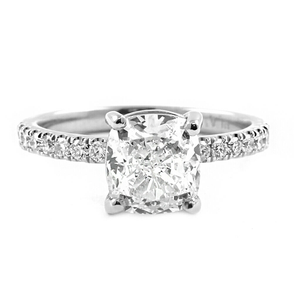 GIA Certified Diamond Engagement Ring 2.45 carat Cushion Shape Platinum 2