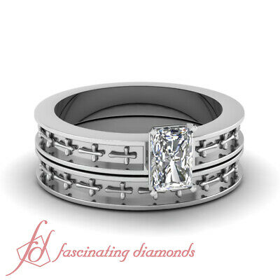 Solitaire Engraved Cross Style Wedding Rings Set 1/2 Ct Radiant Cut Diamond GIA