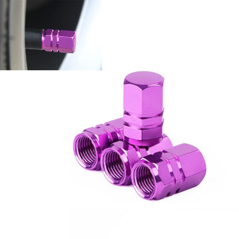 4Pcs Purple Aluminum Tire Wheel Rims Stem Air Valve Caps Tyre Cover Car Caps sr