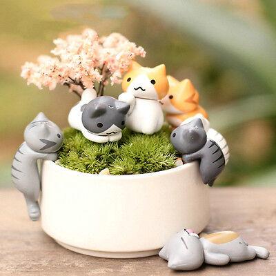 6Pcs DIY Craft Cat Fairy Garden Ornament Miniature Figurine Dollhouse Home Decor