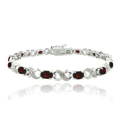 6.6ct Garnet & Diamond Accent Infinity Links Bracelet Diamond Accent Garnet Bracelet