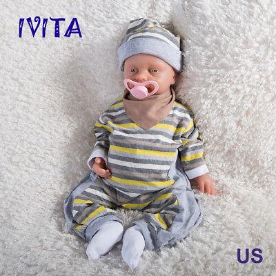 IVITA 18'' Infant Full Silicone Reborn Baby BOY Take Dummy Lifelike Cute Dolls