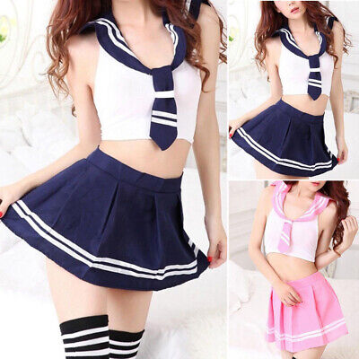Ladies School Girl Sailor Fancy Skirt Dress Costume Uniform Womens Adult Sexy ()
