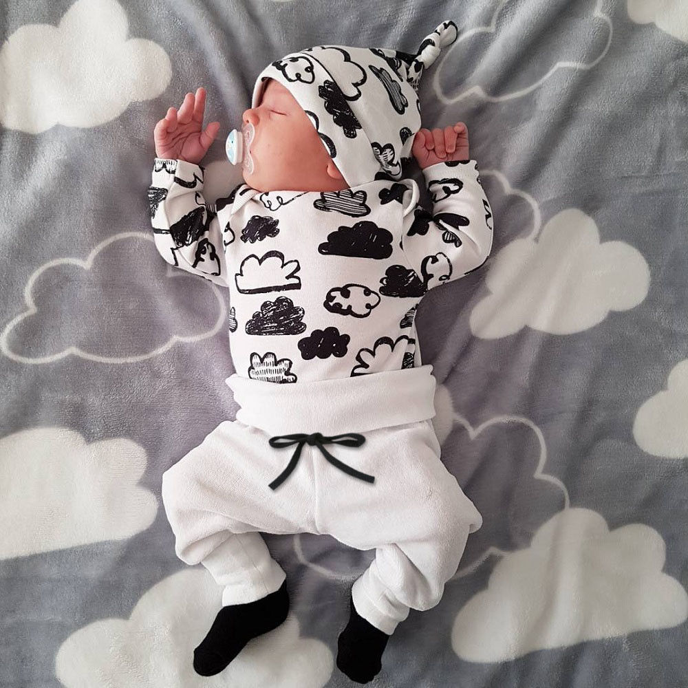 Infant Newborn Baby Girl Boy Shirt Tops+Pants Trousers+Hat 3PCS Outfit Clothes f