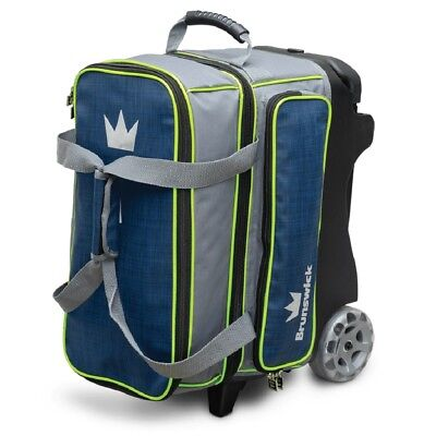 "Brunswick CROWN DELUXE 2 Ball Roller Bowling Bag 5"" Urethane Wheels Navy/Lime"