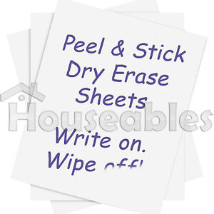 5 Dry Erase Sheets White Board Removable Vinyl Sticker Whiteboard 8.5