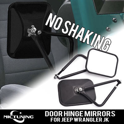 MICTUNING Off Road Rectangular Adventure Mirrors Door Hinge Mirror Fits All Jeep