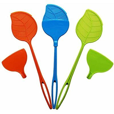 Swat & Sweep Fly Swatter 3 Pack With Heavy Duty Plastic Handle Detachable For