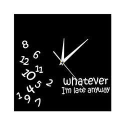 Whatever I'm Late Anyway Square Wall Clock Scrambled Numbers Modern Watch