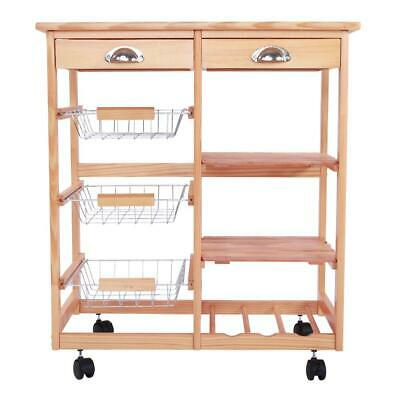 Rolling Wood Kitchen Island Trolley Cart Top Storage Cabinet Utility Wood Color
