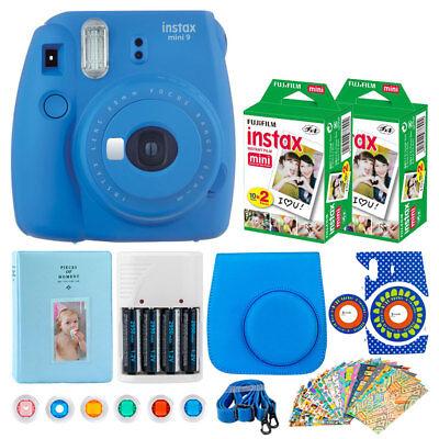 Fujifilm Instax Mini 9 Point Camera (Cobalt Blue) + Instax 40 + Crate + Album