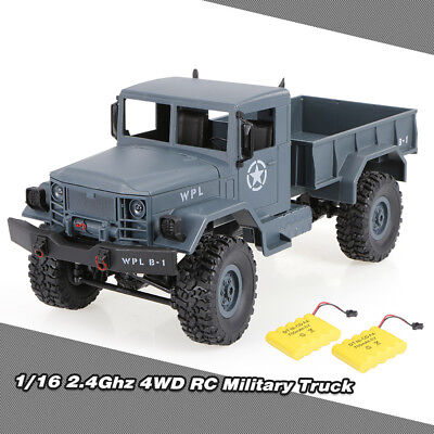 Best WPL B-1 1:16 4WD 2.4G RC Military Truck Off Road Car with Two Battery
