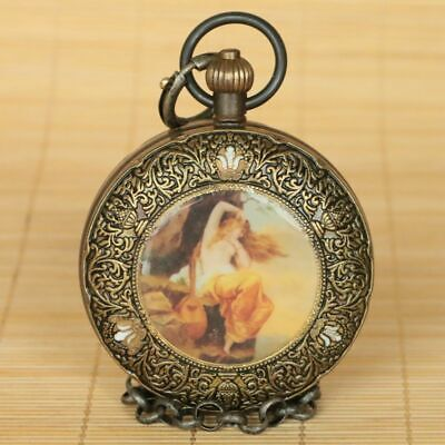 Collectible Exquisite Brass Handmade Mechanical Pocket Watch Two Open