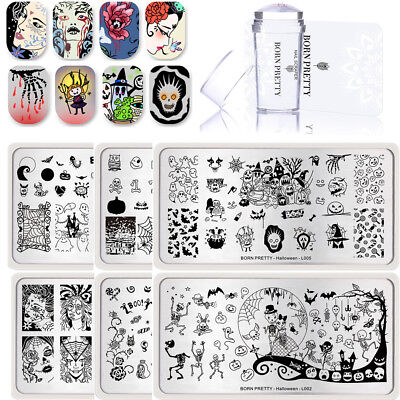 6Pcs BORN PRETTY Nail Art Stamping Plates Halloween Theme with Stamper Scraper](Halloween 6 Theme)