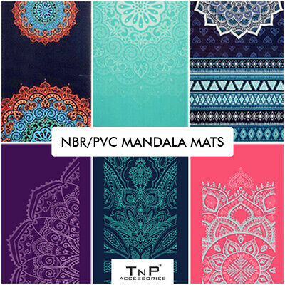 Yoga Mat and Carry Bag Strap 6mm Thick Large Non Slip Patterned Mats Pilates