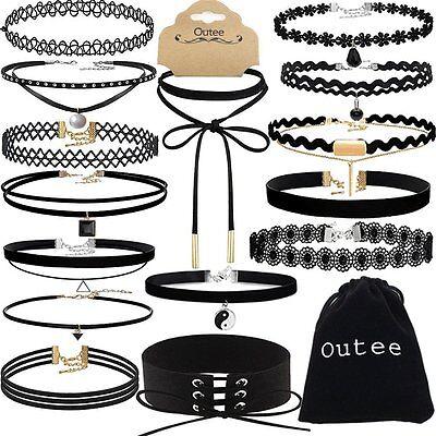 Chocker Sets, Outee 15 Pieces Black Velvet Choker Necklace Set Lace Choker