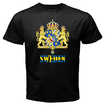 New Sweden Swedish Coat of arms FLAG Black T-shirt Size S-3XL Free Shipping