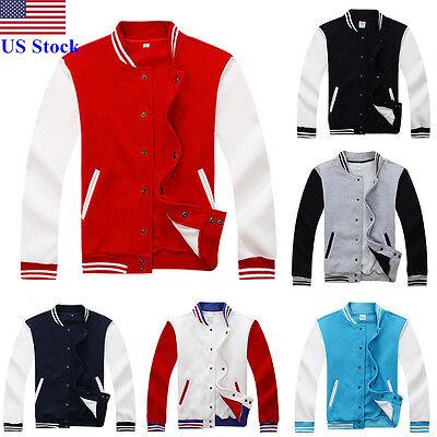 $24.99 - US Men Fashion Varsity Jacket College University Letterman Baseball Coat Outfits