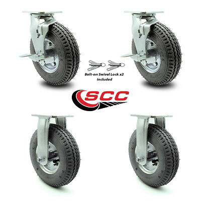 Scc 8 Air Wheel Caster-2 Swivel Wbrakes Bolt On Swivel Lock2 Rigid-set 4
