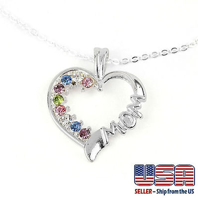 925 Silver Plated Multi  Color Cz Cubic Heart  Mom   Mother Pendant Necklace 18