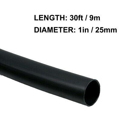 1in 25mm Diameter Heat Shrink Tubing Shrinkable Tube 30ft Black 21 Ratio