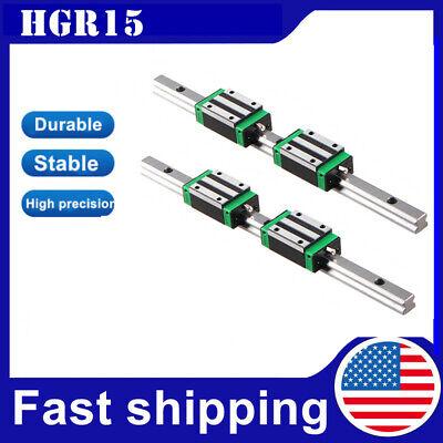 HGR15 2PCS Linear Rail Guide L300-1500mm HGR15 + 4PCS HGH15CA FOR CNC US Stock