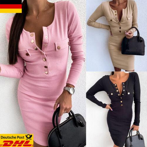 Damen Minikleid Langarm Partykleid Freizeit Abendkleid Sexy Clubwear Mit Knopf