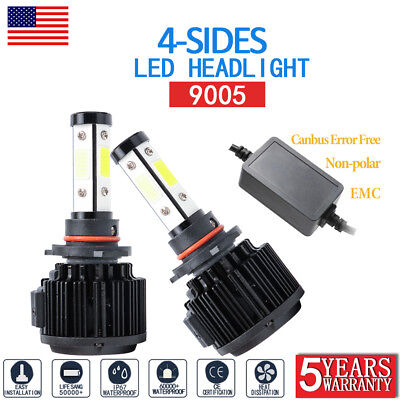 Pair 9005/HB3/H10 4-Side LED Bulb Car Headlight Conversion Kit Hi-Low Beam 6000K